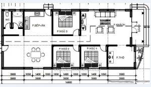thiết kế nhà cấp 4 3 phòng ngủ 15