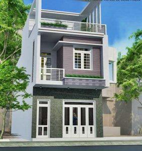 thiết kế nhà phố 2 tầng 1 tum 3