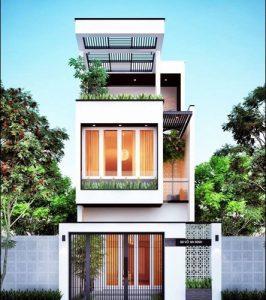 thiết kế nhà phố 2 tầng 1 tum 14
