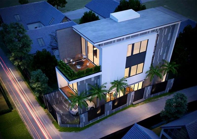 thiết kế nhà phố 2 tầng 1 tum