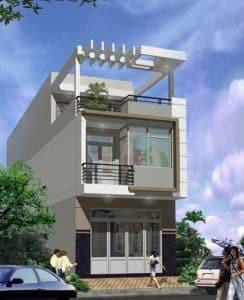 thiết kế nhà phố 2 tầng 1 tum 24