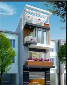 thiết kế nhà phố 2 tầng 1 tum 25