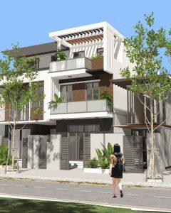 thiết kế nhà phố 2 tầng 1 tum 9