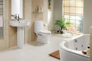 Thiết kế không gian nhà tắm sang trọng với gạch giả gỗ kích thước nhỏ