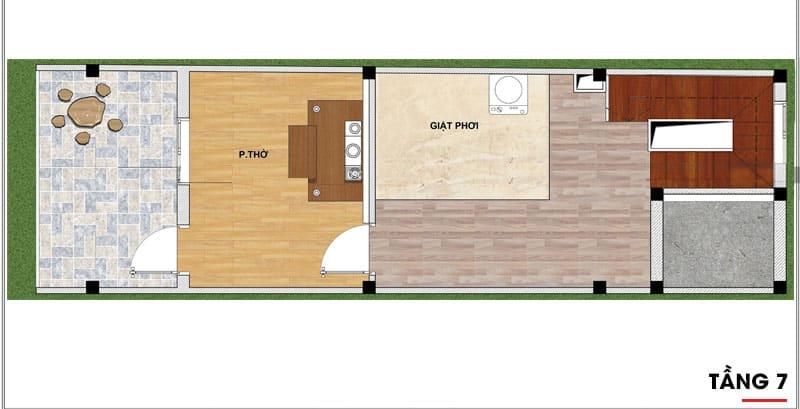 thiết kế nhà phố 7 tầng 6