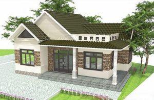 Thiết kế nhà cấp 4 mái thái, với thiết kế giật cấp và phi đối xứng