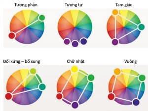 Cách phối màu tương phản Complementary