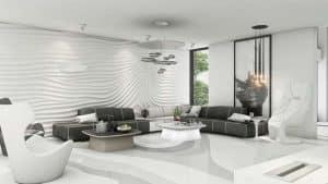 Mẫu phòng khách hiện đại cùng với gam màu xám nhạt