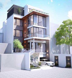 mẫu thiết kế nhà phố vừa ở vừa kinh doanh có tầng hầm nổi
