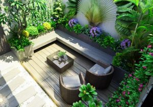 Thiết kế sân vườn đơn giản với cây cỏ