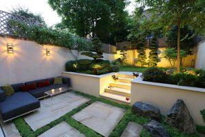 thiết kế sân vườn đơn giản, sang trọng