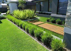 mẫu thiết kế sân vườn đơn giản với khóm cây