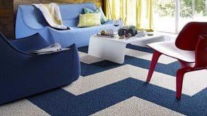 Không gian phòng khách với thảm trang trí tinh tế