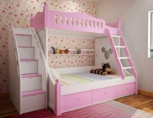 Mẫu thiết kế phòng ngủ giường tầng cho các bé gái